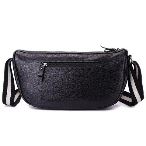 Outfit PU Leather Contrast Strap Crossbody Bag - BLACK  Mobile