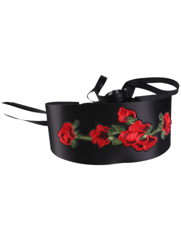 Discount Retro Chinoiserie Flowers Embroidery Corset Belt - BLACK  Mobile