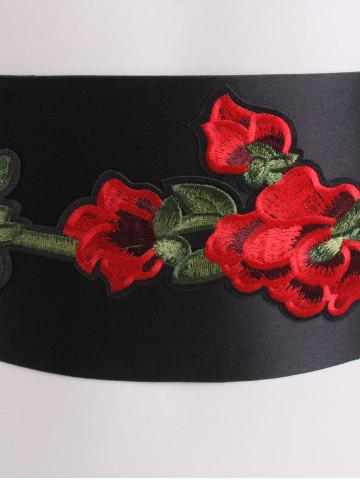 Trendy Retro Chinoiserie Flowers Embroidery Corset Belt - BLACK  Mobile