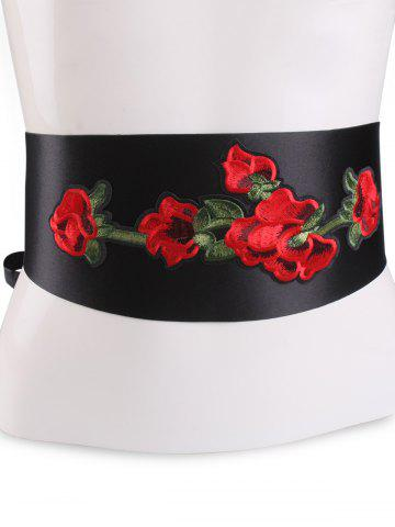 Outfits Retro Chinoiserie Flowers Embroidery Corset Belt - BLACK  Mobile