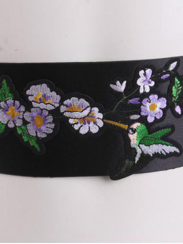 Discount Wide Bird Floral Shrub Embroidered Corset Belt - BLACK  Mobile