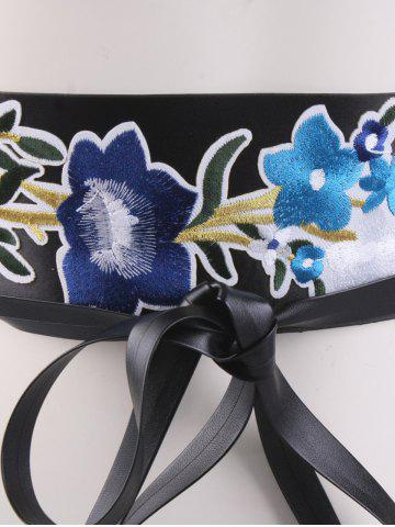 Affordable Chinoiserie Floral Embroidery Wide Corset Belt - BLUE  Mobile