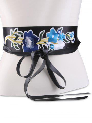 Latest Chinoiserie Floral Embroidery Wide Corset Belt - BLUE  Mobile