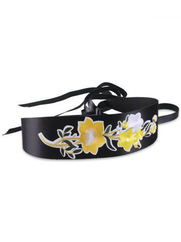 Latest Chinoiserie Floral Embroidery Wide Corset Belt - YELLOW  Mobile