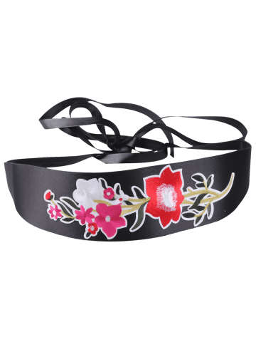 Trendy Chinoiserie Floral Embroidery Wide Corset Belt - BRIGHT RED  Mobile