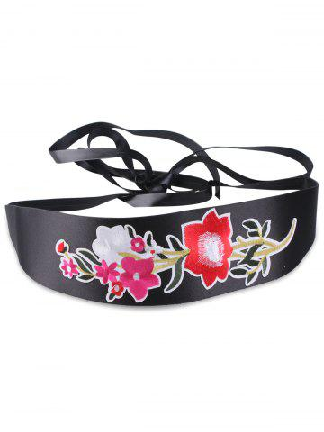 Affordable Chinoiserie Floral Embroidery Wide Corset Belt BRIGHT RED