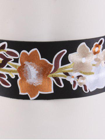 Online Chinoiserie Floral Embroidery Wide Corset Belt - BROWN  Mobile