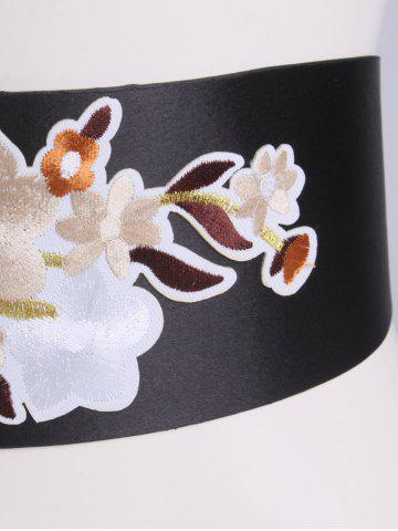 Latest Chinoiserie Floral Embroidery Wide Corset Belt - BROWN  Mobile