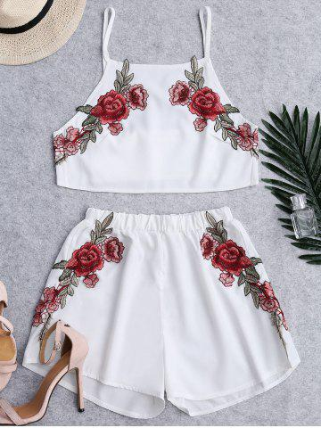 Discount Floral Patched High Waist Cami Suits - S WHITE Mobile