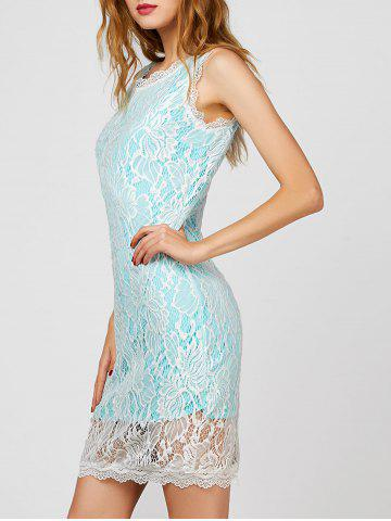 Fancy V Back Short Cocktail Lace Sheath Dress LAKE BLUE S