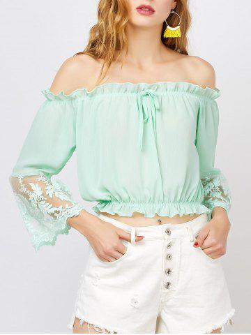Lace Trim Chiffon Off The Shoulder Top - Light Green - L