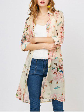 Trendy Button Up Chiffon Butterfly Print Blouse PINK M
