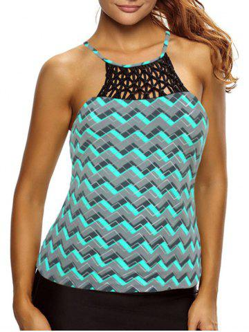Chic Cross Back High Neck Zigzag Tankini Top - S GREEN Mobile