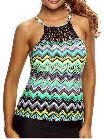 Outfit Cross Back High Neck Zigzag Tankini Top