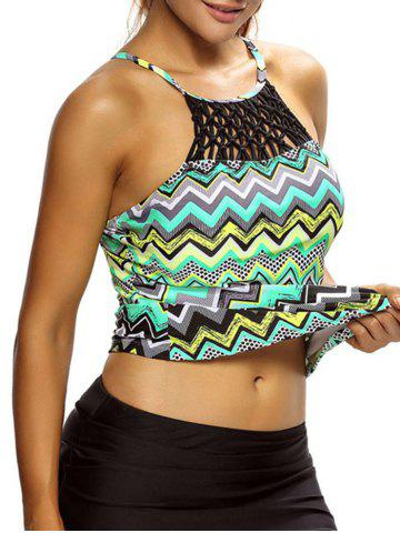 Hot Cross Back High Neck Zigzag Tankini Top - S COLORMIX Mobile