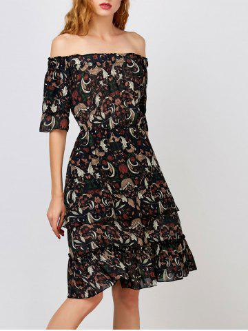 Fashion Off The Shoulder Layer Floral Print Dress