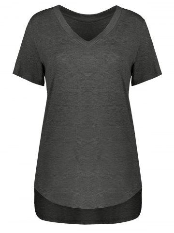 Outfit Plus Size Short Sleeve V Neck Tee DEEP GRAY 4XL