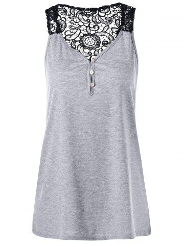 Cheap Button Lace Back Racerback Tank Top LIGHT GRAY 2XL