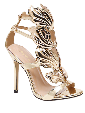 Fancy Stiletto Heel Double Belt Buckle Sandals