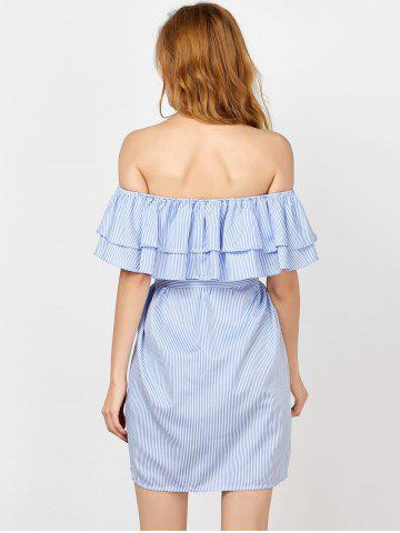 Outfit Off The Shoulder Flounce Striped Shirt Dress - M BLUE Mobile