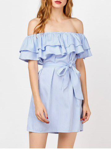 Best Off The Shoulder Flounce Striped Shirt Dress - M BLUE Mobile