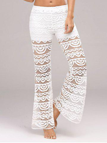 Trendy See Through Side Slit Lace Pants - XL WHITE Mobile