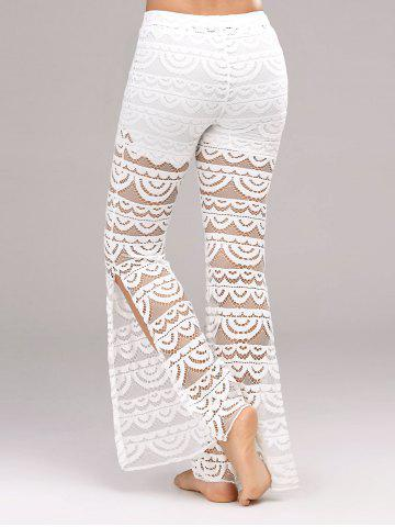 Chic See Through Side Slit Lace Pants - XL WHITE Mobile