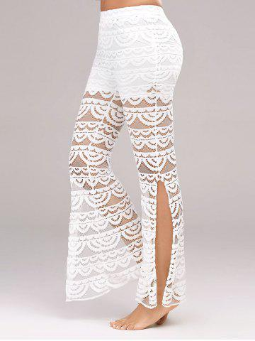 New See Through Side Slit Lace Pants - XL WHITE Mobile