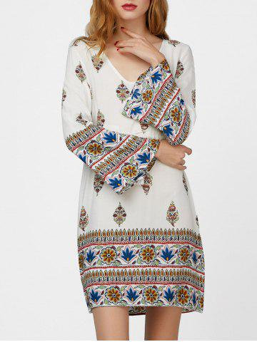 Flare Sleeve Drawstring Print Dress with Tassel - White - Xl