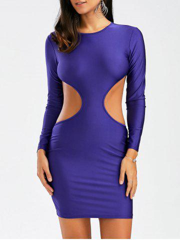 Backless Mini Cut Out Bodycon Club Dress Pourpre S