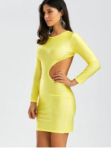 Chic Backless Mini Cut Out Bodycon Club Dress - S YELLOW Mobile