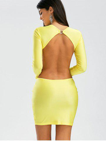 Latest Backless Mini Cut Out Bodycon Club Dress - S YELLOW Mobile