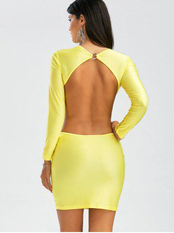 Affordable Backless Mini Cut Out Bodycon Club Dress - S YELLOW Mobile