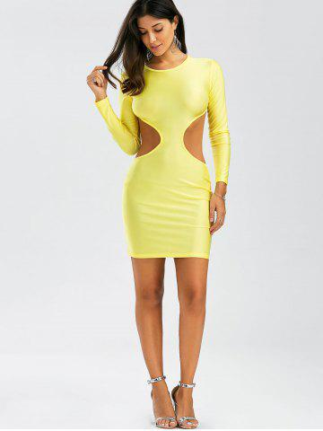 New Backless Mini Cut Out Bodycon Club Dress - S YELLOW Mobile