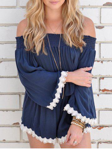 Off The Shoulder Lace Hem Romper