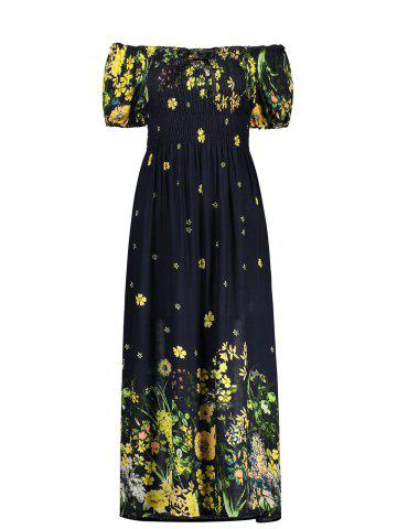 Unique Puff Sleeve Elastic Chest Flower Midi Dress BLACK ONE SIZE