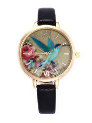 Roman Numeral Floral Bird Faux Leather Watch - BLACK
