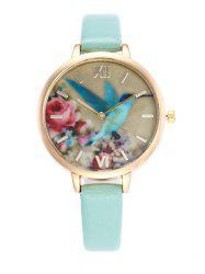 Roman Numeral Floral Bird Faux Leather Watch - CLOVER