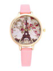 Eiffel Tower Floral Roman Numeral Watch - PINK