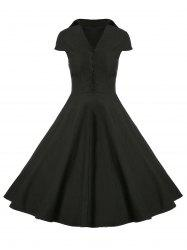 A Line Buttoned Vintage Corset Dress with Sleeves