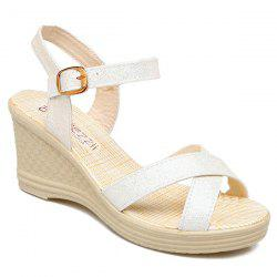 Wedge Heel Cross Strap Sandals - OFF-WHITE