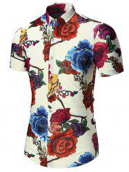 Floral Printed Plus Size Hawaiian Shirt