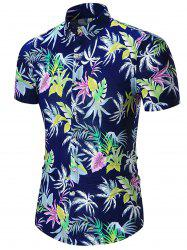 Plus Size Leaves Printed Hawaiian Shirt