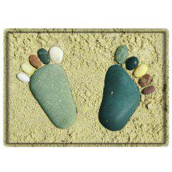 Beach Stone Footprints Water Absorbing Bathroom Floor Mat