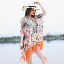 Paisley Printing Ethnic Wrap Shawl with Fringe - PEARL KUMQUAT