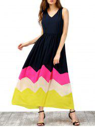 Colorblock Maxi V Neck Zigzag Dress