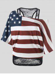 Skew Collar American Flag Plus Size T-Shirt - COLORMIX XL