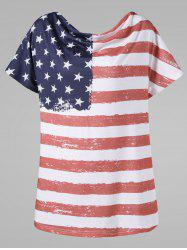 Cow Neck American Flag Plus Size T-Shirt