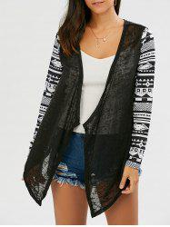 Collarless Open Front Asymmetric Cardigan - BLACK