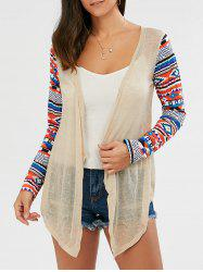 Collarless Open Front Asymmetric Cardigan - BEIGE